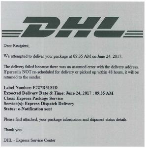 Fake DHL Email